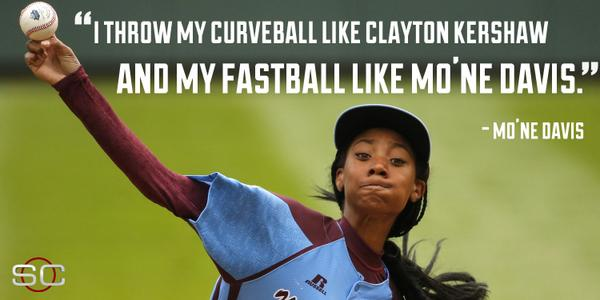 Awesome. MT @SportsCenter: When asked to compare herself to MLBers, Mo'Ne Davis has style all her own. http://t.co/BhazDofZ26