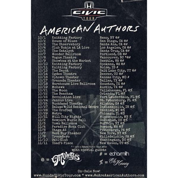 .@TheMowglis will be joining @aauthorsmusic on the 2014 #HondaCivicTour! Which date will you be going to? http://t.co/oMwvsE9yny