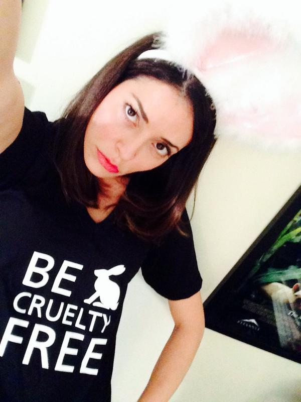 Emmanuelle Vaugier (@evaugier): I am an angry bunny because Canada tests cosmetics on animals!! #BeCrueltyFree @HSIGlobal http://t.co/8RjeVDC9lH