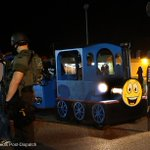Thomas the Tank Engine makes an appearance in #Ferguson Surreal. #MikeBrown http://t.co/qly7ejfi1Y