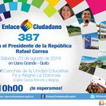 """#SomosPatria""""@35PAIS: Todos invitados al #Enlace387 con el Presidente @MashiRafael desde Llano Grande #Quito http://t.co/nzjTXaxKEP"""""""