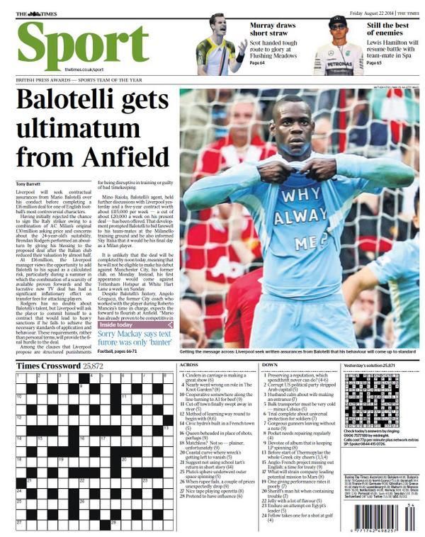 Bvl8hDuIMAAmin2 Liverpool give conduct ultimatum to Mario Balotelli before signing Milan striker [Times]