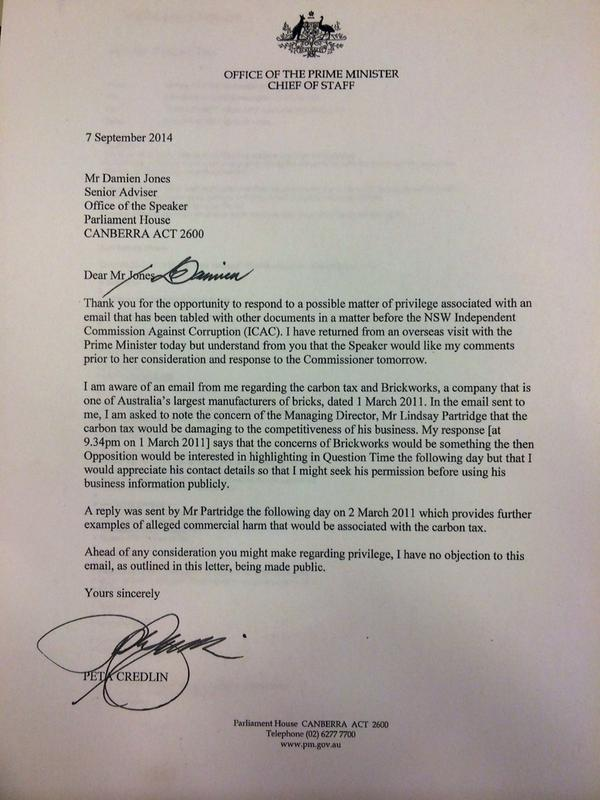 Letter from pm abbott\'s cos peta credlin says she has \'no objection ...