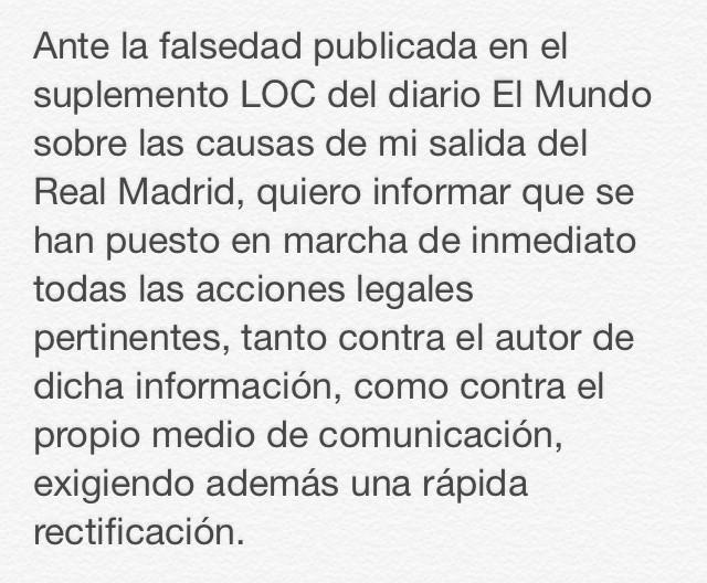 RT @XabiAlonso: Ante la falsedad de la noticia publicada. http://t.co/6pmnxf5Wtw