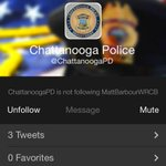 RT @MattBarbourWRCB: #CHA Police Dept. now on the Twitter: @ChattanoogaPD http://t.co/Xyjolo2peM