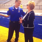 MS Supt. of Education Carey Wright, right, took in the blue turf at @TupeloHigh today. @tupeloschools http://t.co/3PnYep9M30