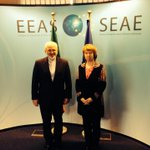 Picture of #EU High Rep #Ashton welcoming #Iran FM @JZarif to @eu_eeas HQ for nuclear discussions #IranTalks http://t.co/zSsp1ExUeH