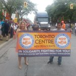 . @LindaMcQuaig attends #labourday parade. No Liberal from #Torcen @tcndp #canlab #ndp http://t.co/Wix8zKzVII pic via @VinceCifani