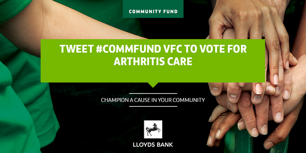 Arthritis Care has been nominated for Lloyds Community Fund grant.Please retweet to this to vote for us #Commfund VFC http://t.co/VmCXRuAD6M