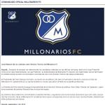 RT @CanalCapital: ATENCIÓN: Juan Manuel Lillo no continúa como DT de @MillosFCoficial. Aquí el comunicado oficial del club embajador. http://t.co/egCbfLUQ4V