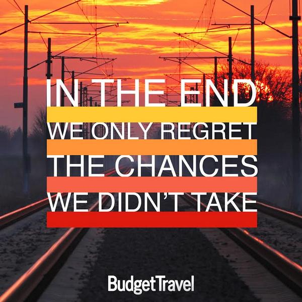 """""""In the end, we only regret the chances we didn't take"""" #traveltuesday #ttot http://t.co/SmIK8L494k"""