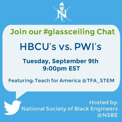What's your experience as a HBCU/PWI student majoring in STEM? Let's discuss it next week!  @TFA_STEM #glassceiling http://t.co/XJKMvpQ9hU