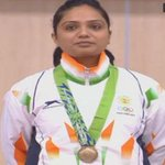 Shweta Chaudhry receiving her bronze medal (screengrab). #AsianGames live: http://t.co/IiBMhXPIV7 http://t.co/HIO6nd0QVm