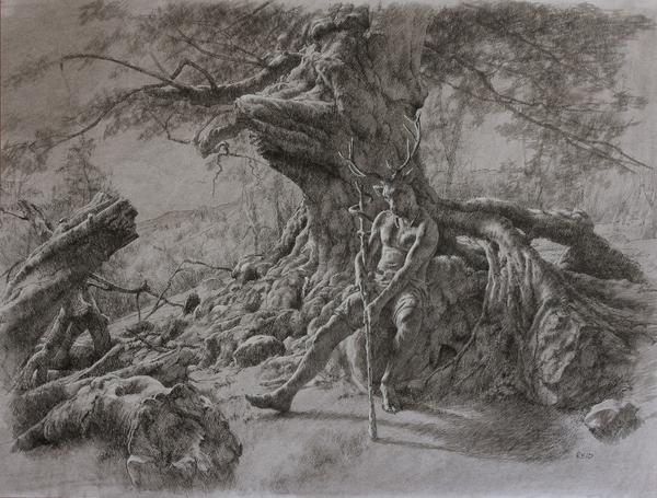'Cernunnos'-Charcoal & Ink-42x55cm http://t.co/S2USxa2uhw