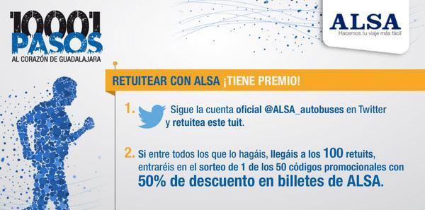 ¡Tu también puedes unirte a la Caminata ALSA y ganar códigos promocionales. RT #10001pasos http://t.co/yn94oszUnt