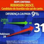 RT @RobinsonFaria: Pesquisa Ibope confirma o crescimento da nossa campanha e a estagnação dos outros candidatos http://t.co/Ti4pOtX0FD