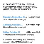 Attn @SPAFootball fans‼️: Note the upcoming schedule changes. See pic for details. > Gr8ful 2 @HorizonFootball http://t.co/5EFGfhXrvg