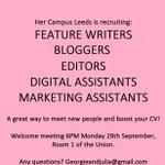 RT @HerCampusLeeds: Calling all @LeedsUniUnion freshers! Interested in a career in journalism? #RoadToLeeds #HelloLeeds http://t.co/HKU21s6BPy