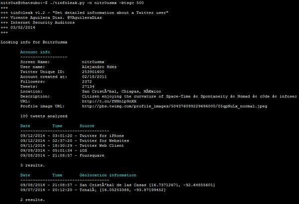 Alejandro Hdez (@nitr0usmx): tinfoleak.py - A nice tool to get detailed information about a Twitter user activity http://t.co/QloiRNYAyk #OSINT http://t.co/1wK0Ykqotr