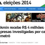 RT @betoalves_sp: 70% das doações pra campanha do Alckmin são de empresas investigadas por fraudes e cartel #debatenaglobo #debatesp http://t.co/KTr1A3RYXG