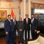 PM Shri @narendramodi at lunch hosted by Mr. @JoeBiden and Mr. @JohnKerry in Washington DC. http://t.co/6Cp8CQvRmd