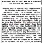 """No longer to be feared"", New York Times article about Adolf Hitlers release from prison, on this day in 1924. http://t.co/VjB1L4cfcm"