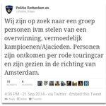 De Politie uit Rotterdam is op zoek naar Ajacieden na de wedstrijd Feyenoord - Ajax #feyAJA #Ajax http://t.co/29oye98t2s