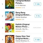 Now @arrahman's #I album is back to 1st position in #iTunes Chart.. #Kaththi is in 3rd spot.  #Monday 3.30pm report.