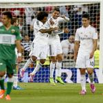 #LigaBBVA | ¡¡Al descanso!! Real Madrid 3-1 Elche. Goles: Bale y Ronaldo (2) / Edu Albacar http://t.co/oxRVXtwlvj