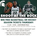 ATTENTION MSU STUDENTS: Shoot At The Rock has been postponed until Thursday. Same time, same place, same prizes. http://t.co/P5id7LGU4f
