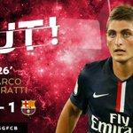 27 @MarcoVerratti1 marque son 1er but ce soir sous les couleurs du @PSG_inside !! #PSGFCB http://t.co/DC8NDs4qBh