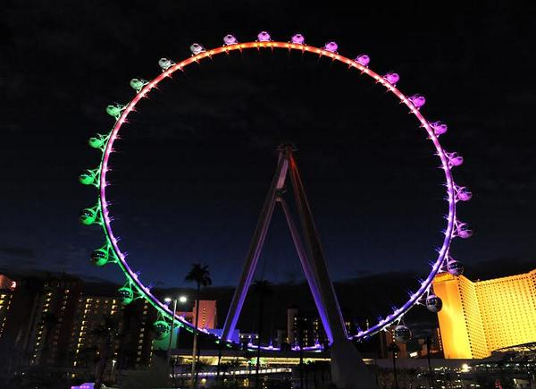 .@HighRollerVegas turns rainbow after appeals court strikes down Nevada's gay marriage ban. (Credit: LV News Bureau) http://t.co/t3PciLgsOd