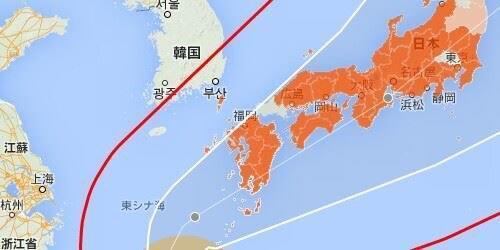 オレンジが台風の注意地域