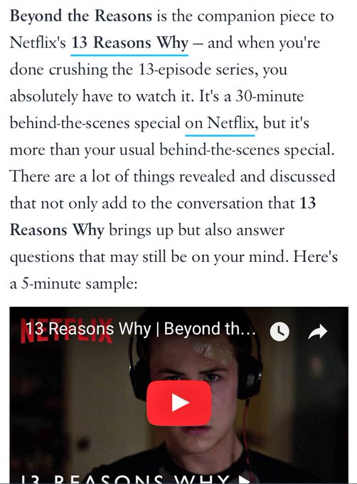 Anyone see this? Apparently, you're supposed to watch it after @13ReasonsWhy hmmm.... https://t.co/l