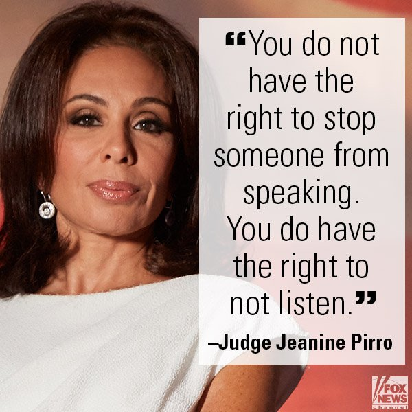 On 'Justice,' @JudgeJeanine slammed left-wing 'snowflakes' who will do anything to stop conservative free speech. https://t.co/an9r2l9szY