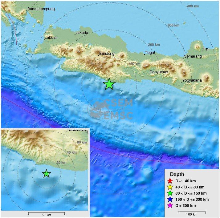 Felt #earthquake (#gempa) M5.0 strikes 64 km SW of #Tasikmalaya (#Indonesia) 15 min ago. https://t.co/39qQsbNbA7