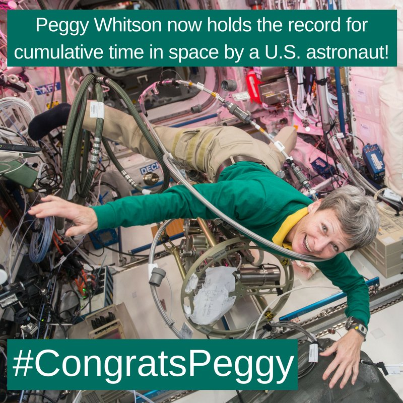 You can congratulate Peggy Whitson on her record-breaking mission in space! Tweet your congrats message using #CongratsPeggy