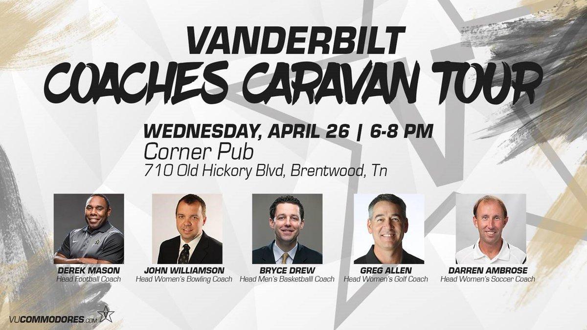 Two days until Vanderbilt's first Coaches Caravan Tour stop! Come see us! https://t.co/f60GuK1N1Z
