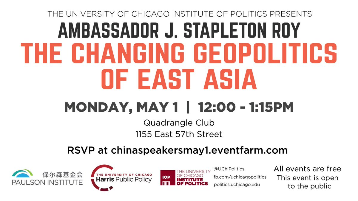 test Twitter Media - May 1: We host Amb J. Stapleton Roy at @UChicago for a talk on the changing geopolitics of East Asia. RSVP here: https://t.co/eeCMGpduZv https://t.co/lswD2FPAhM