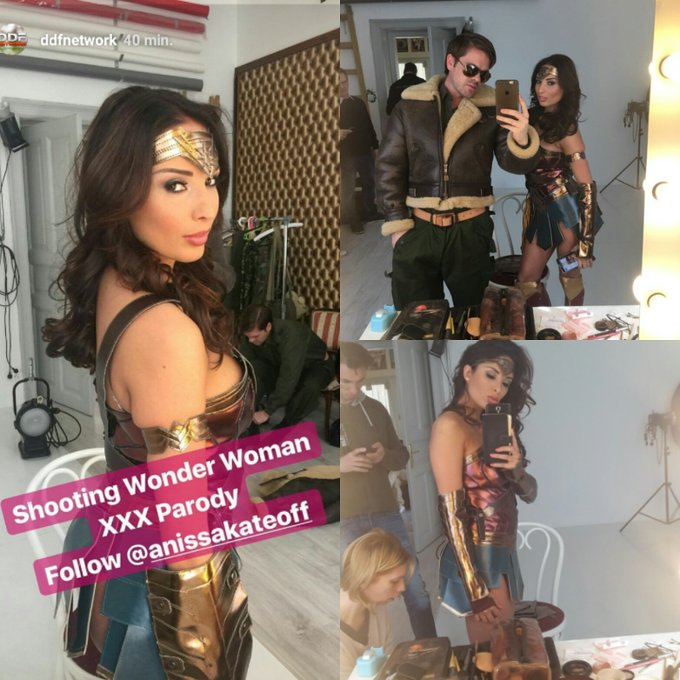 I m wonder woman today for @DDFNetwork and I m gonna save the world and @RyanRyderxxx lol https://t.