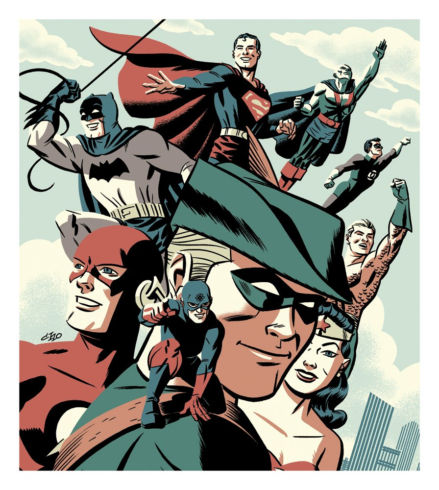 I drew another cover for DC's Archive collections.  This is my 3rd JLA Silver Age cover - more smiling heroes! https://t.co/OwIRaZPsVv