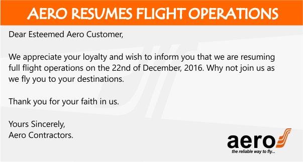 AeroContractors resumes flight operations, 22nd December 2016 https://t.co/Ani1P53hJE