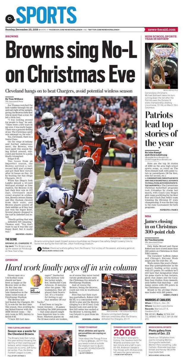 I tip my cap to News Herald headline writer!! #Merry XMas @Browns fans https://t.co/urJLw1kjn3