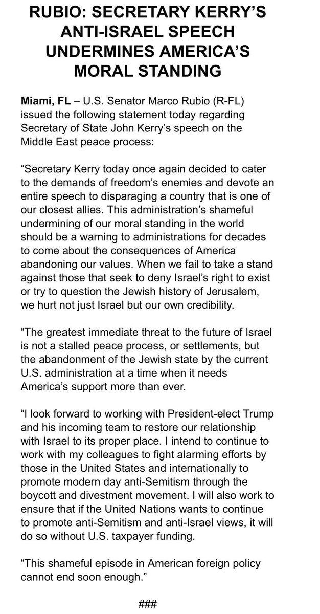 Secretary Kerry's anti-Israel speech undermines America's moral standing. #teammarco
