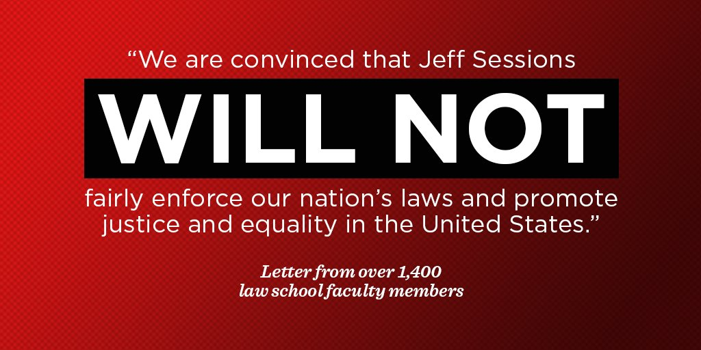 RT if you agree with the over 1,400 law school faculty who don't trust Jeff Sessions to stand up to Donald Trump. https://t.co/Bxko6l7Pqf