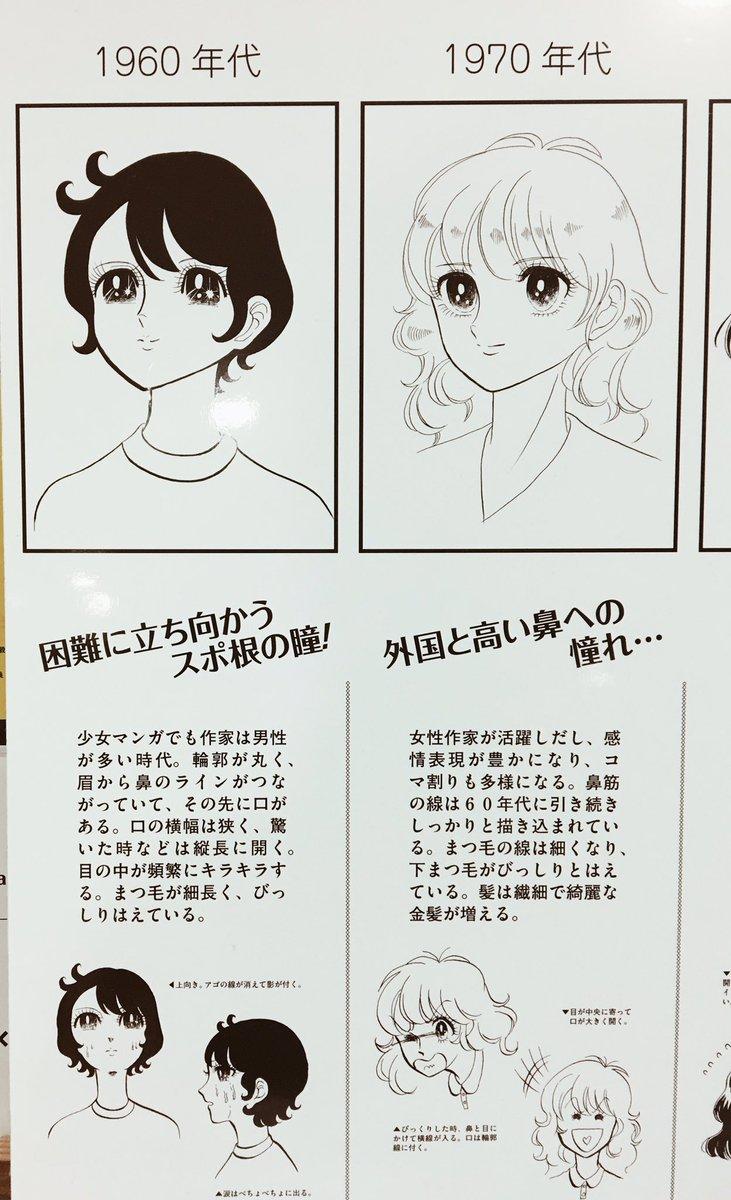 京都精華大のマンガ学部の前に置いてあった、「少女マンガの絵柄♡変遷顔年表」てのが面白かったし私は90年代勢です  #京都精華大学 #マンガ学部 #少女漫画 https://t.co/fzSetbWOvl