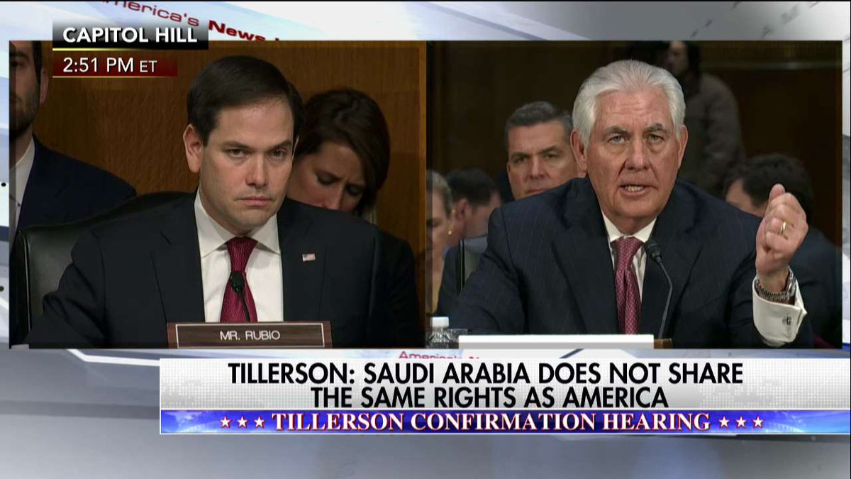 Rex Tillerson Saudi Arabia does not share the same rights as America.