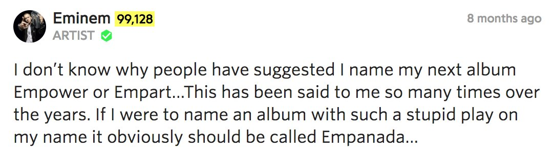 Eminem on people giving him ideas for new album names. lol