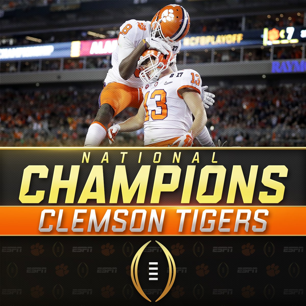 NATIONAL. CHAMPIONS.  Clemson takes down Alabama 35-31 to win its first #NationalChampionship since 1981! https://t.co/G95Crbdo9f