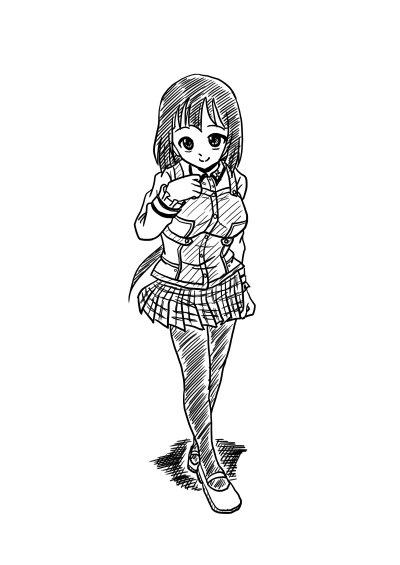 ラフ描き私服東郷さん。かんおんじフェアで私服勇者部を堪能してきたので、今回は私服勇者部シリーズで~。 #yuyuyu